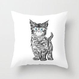 Scruffy Maine Coon Kitten Throw Pillow