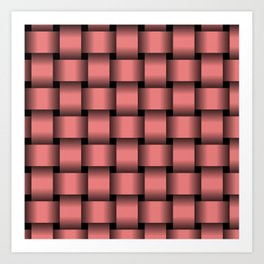 Large Pastel Red Weave Art Print