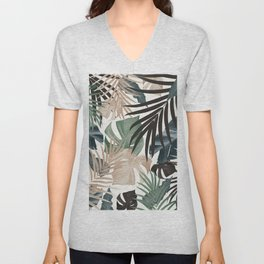 Tropical Jungle Leaves Pattern #13 (Fall Colors) #tropical #decor #art #society6 Unisex V-Neck