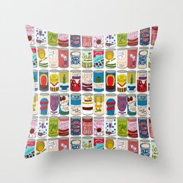 72 cans of soda on a wall Throw Pillow