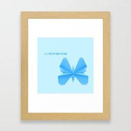 Blue Butterfly Aunty - Origami Blue Butterfly Framed Art Print