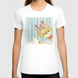 Winter Woodland Friends Fox Snowy Forest Illustration T-shirt