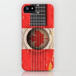 Old Vintage Acoustic Guitar with Canadian Flag iPhone Case