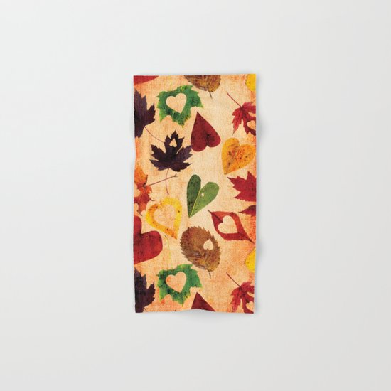 Happy autumn- hearts and leaves pattern Hand & Bath Towel