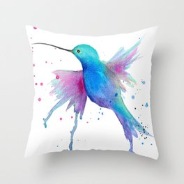 Hummingbird watercolor  Throw Pillow
