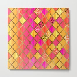 Moroccan Tile Pattern In Pink, Red, Orange, And Gold Metal Print