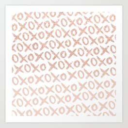 Elegant faux rose gold blush pink love xoxo typography pattern Art Print
