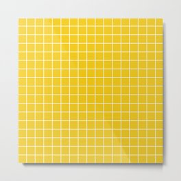 Jonquil - yellow color - White Lines Grid Pattern Metal Print