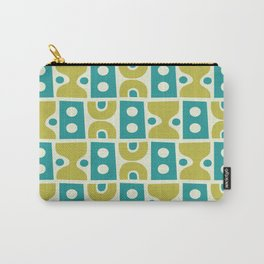 Funky Mid Century Modern Pattern 773 Turquoise and Chartreuse Carry-All Pouch