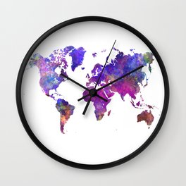 World map in watercolor  Wall Clock