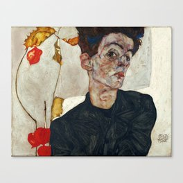 "Egon Schiele ""Self-Portrait with Physalis"" Canvas Print"