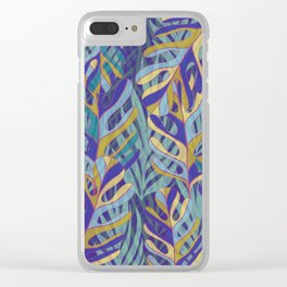 Tropical Leaves, blue and mustard pattern Clear iPhone Case