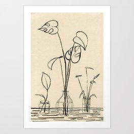 Line drawing leaves #2 Art Print