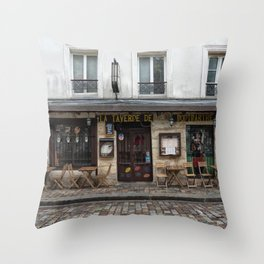 Cafe in Monmartre Paris Throw Pillow
