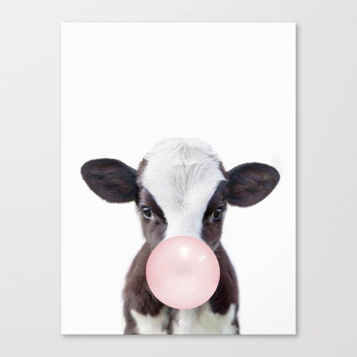Bubble Gum Baby Cow Canvas Print