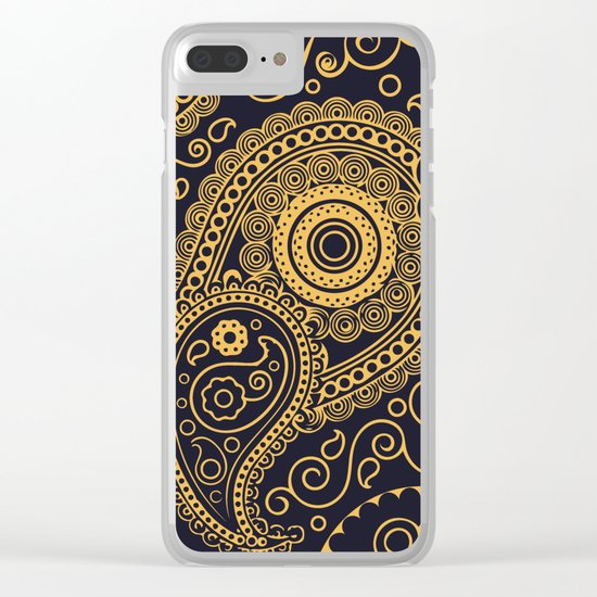 Vintage Pattern Gold Clear iPhone Case