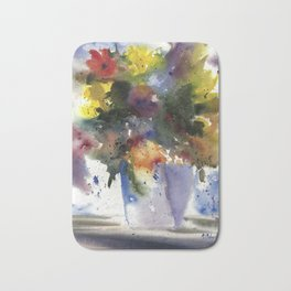 Spring Flowers in Blue Vase, original watercolor painting Bath Mat