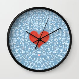 Lace Flowers and A Red Heart Wall Clock