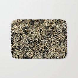 Elegant gold black hand drawn floral lace pattern  Bath Mat