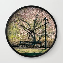 Magnolia's Bloom in Central Park Wall Clock