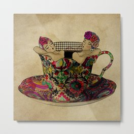Chit chat over coffee Metal Print