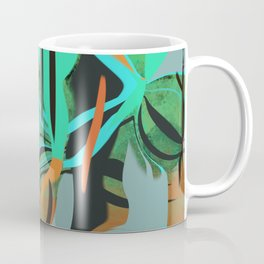 A Happy Orange, Green, and Blue Abstract Coffee Mug