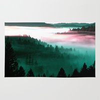 mountains Area & Throw Rugs featuring Misty Mountains Morning : Magenta Mauve Teal by 2sweet4words Designs