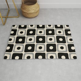 Mid Century Modern Square Dot Pattern 771 Black and Gray Rug
