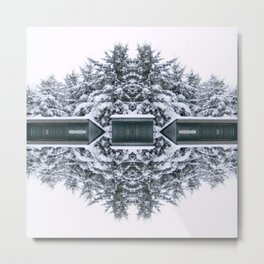 Winter Kaleidoscope Teal and White Snow Covered Trees Metal Print