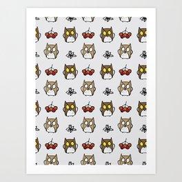 Cute autumn patterns with animals  OWL Art Print