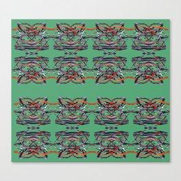 Tiger Heads Pattern Green Canvas Print
