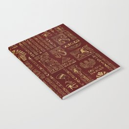 Egyptian hieroglyphs and symbols gold on red leather Notebook