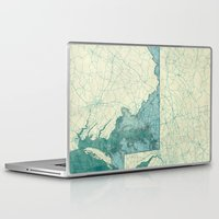 maryland Laptop & iPad Skins featuring Maryland State Map Blue Vintage by City Art Posters