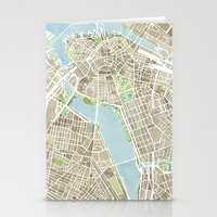 boston map Stationery Cards featuring Boston Sepia Watercolor Map by Anne E. McGraw