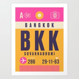 Retro Airline Luggage Tag - BKK Bangkok Thailand Art Print