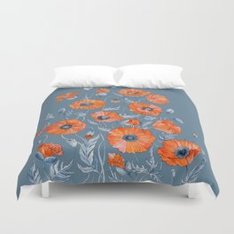 Red poppies in grey Duvet Cover
