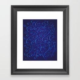 Mysterious Glowing Blue Swirls Framed Art Print