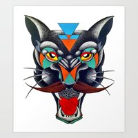 panther Art Prints featuring panther by Ronan Holdsworth
