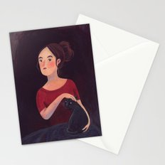 Girl and a cat. Stationery Cards