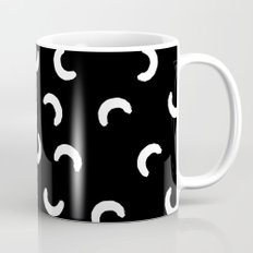 Macaroni squiggle shape abstract black and white minimal pattern modern home office dorm decor Coffee Mug