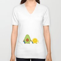 avocado V-neck T-shirts featuring Avocado & Lemon by Ororon