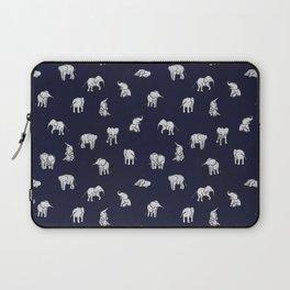 Indian Baby Elephants in Navy Laptop Sleeve