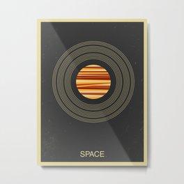 SPACE - Universe | Stars | Saturn | Science | Planets | Minimal | Swiss Design | Retro Art Print Metal Print