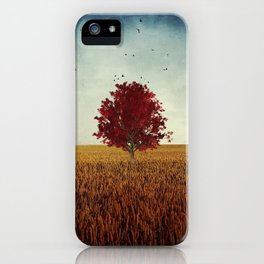 other -  red tree in field iPhone Case