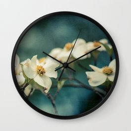 Spring Botanical -- White Dogwood Branch in Flower Wall Clock