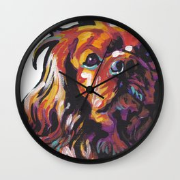 Ruby Cavalier King Charles Spaniel Dog Portrait Pop Art painting by Lea Wall Clock