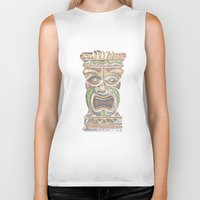 tiki Biker Tanks featuring Tiki by Lauren Ellisa