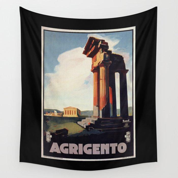 Vintage 1920s Agrigento Italian travel ad Wall Tapestry