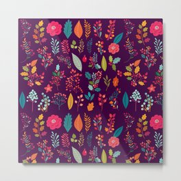 Autumn orange purple pink berries holly floral Metal Print