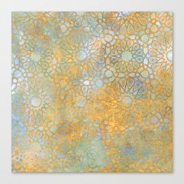 gold arabesque vintage geometric pattern Canvas Print